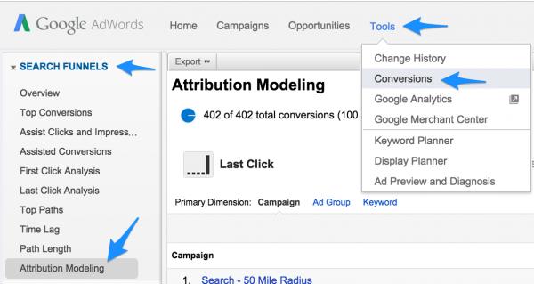 adwords attribution modeling