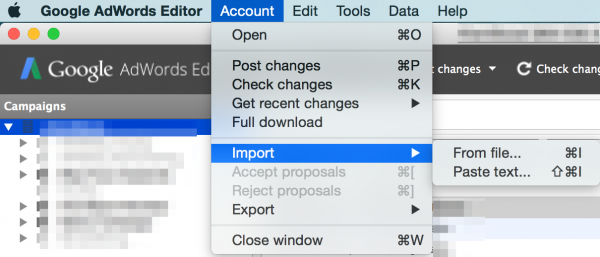 import export adwords editor