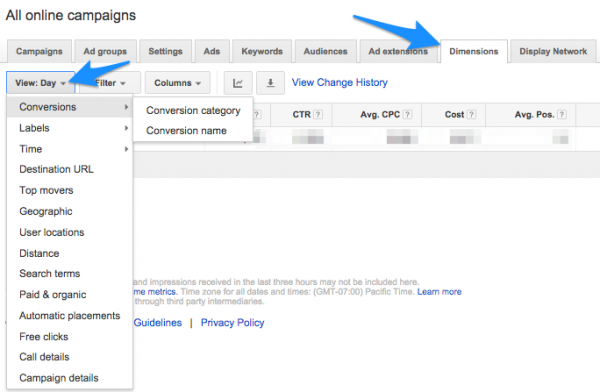 google adwords dimensions tab