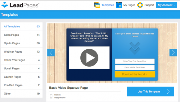 leadpages landing page tool