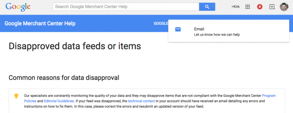 google shopping support