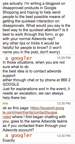 Google Ads chat support