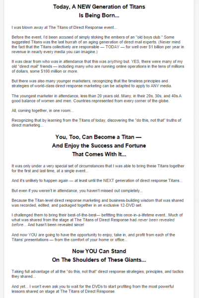 examples of great landing page copy