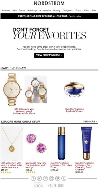 shopping cart abandonment emails