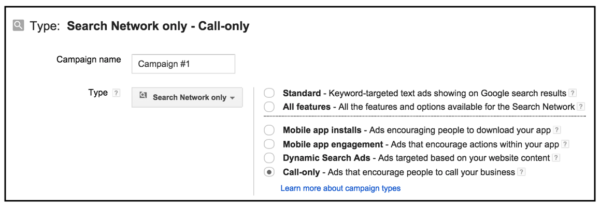 adwords call-only campaigns