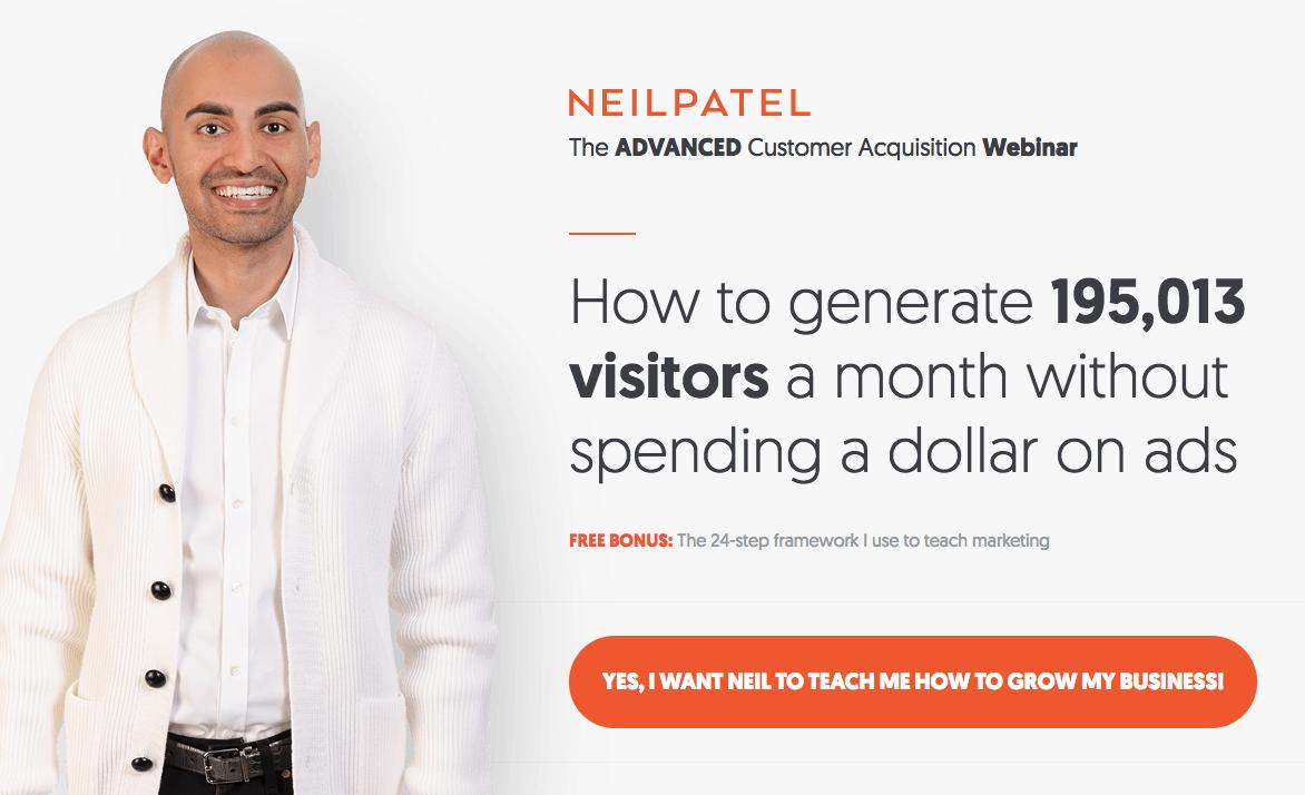 Neil Patel webinar registration landing page