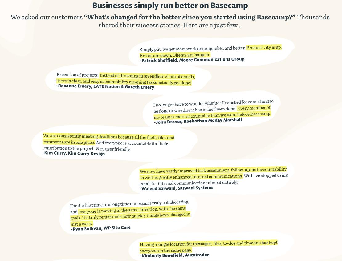 basecamp testimonials