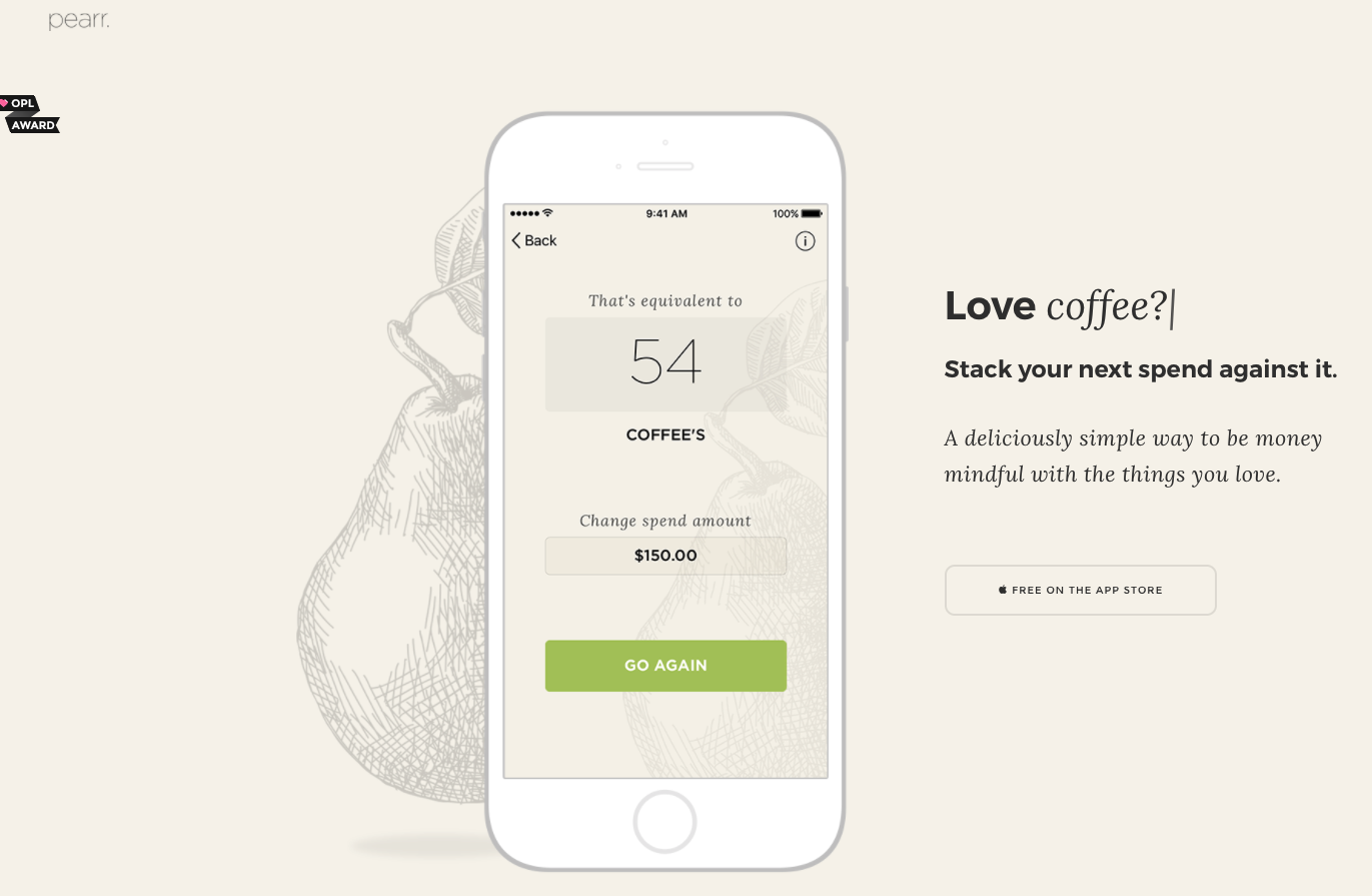 pearr mobile app landing page
