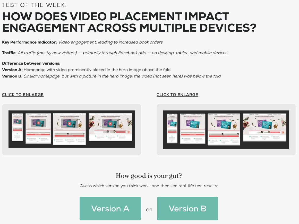 video engagement test
