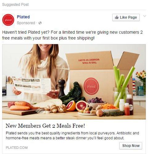 plated social media ad