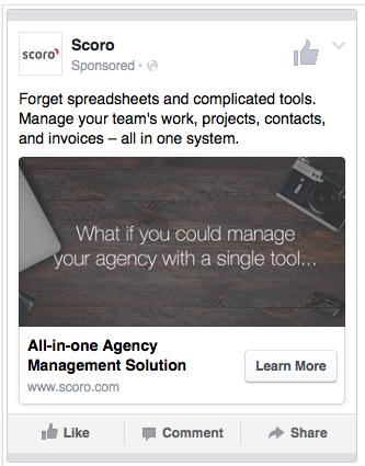 Ad with stock image Scoro