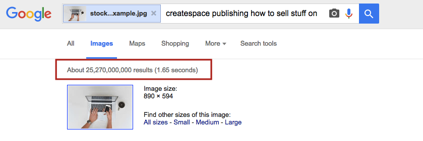 SERP results for stock image