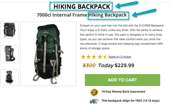 PPC Landing Page hiking backpack