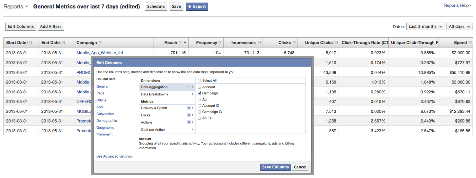 content promotion facebook reporting dashboard