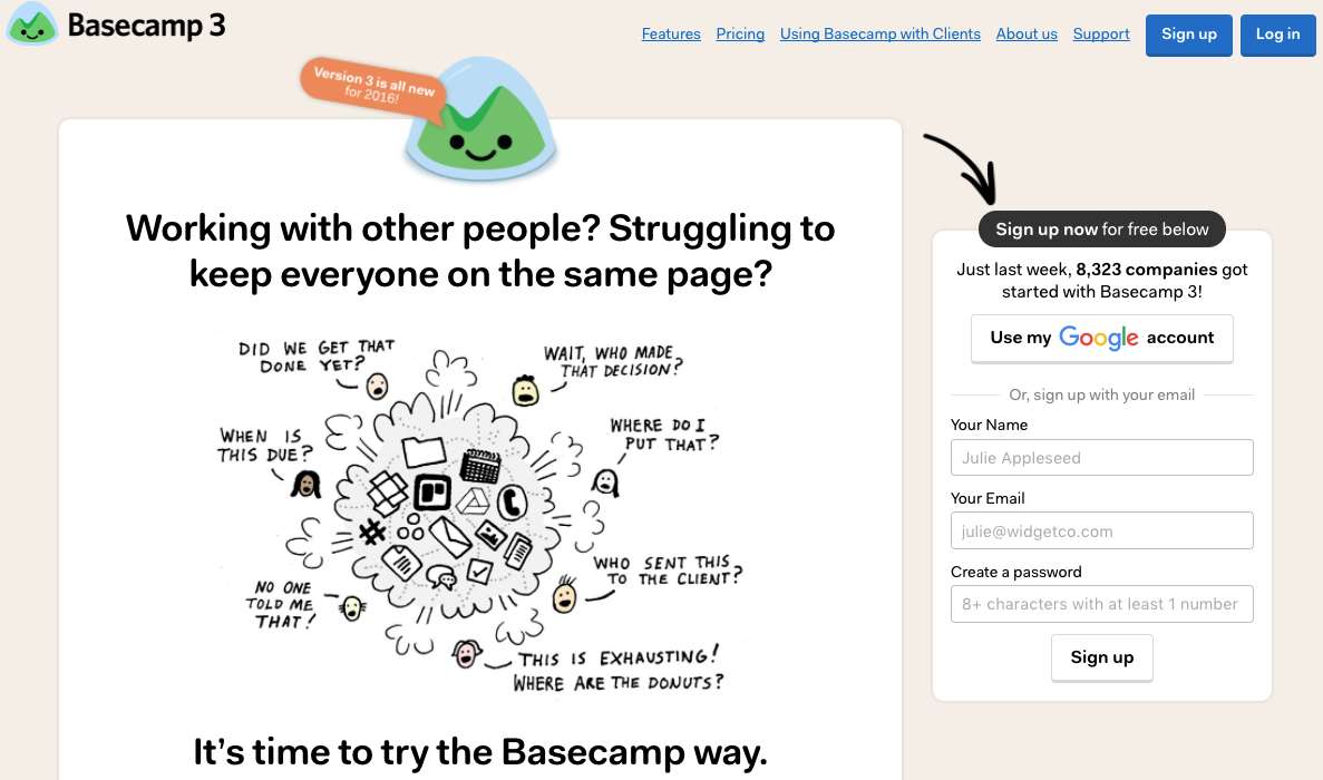 basecamp copywriting for landing page