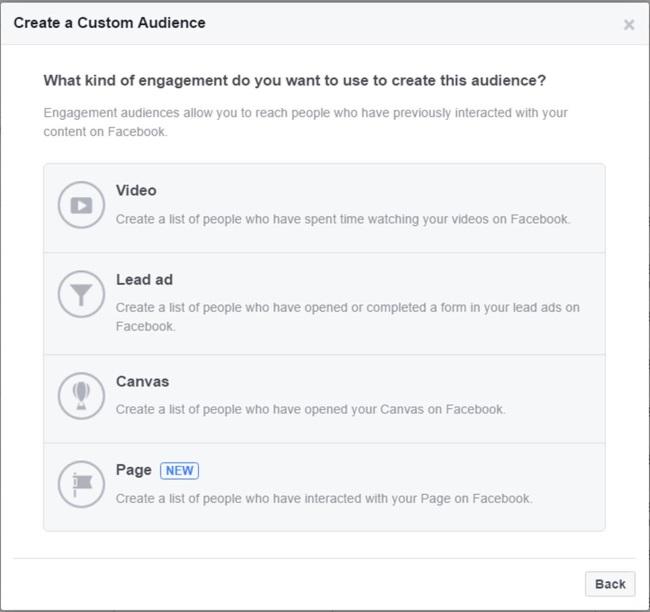 Facebook Create A Custom Audience Page