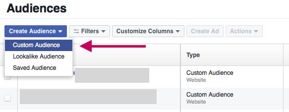 Facebook create a custom audience