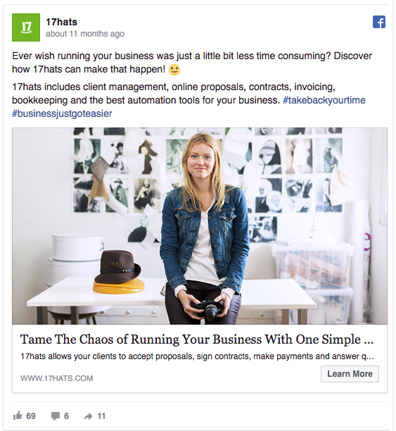 17hats Utilized Hero Shots in Their Facebook Ads
