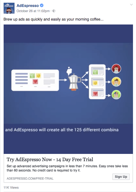 AdEspresso's Facebook ad uses a captioned video