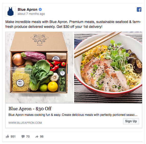 Blue Apron's Facebook ad shows ingredients and the result
