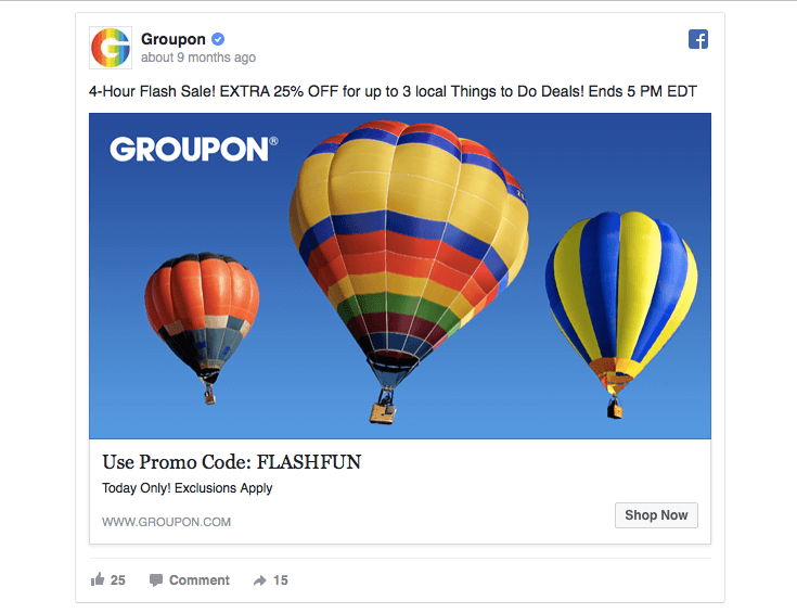 Groupon sets a clear end time to a limited-time offer