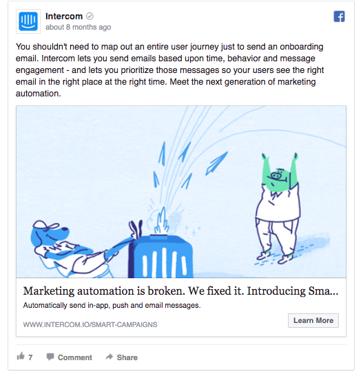 Intercom's Facebook ad addresses you as a friend
