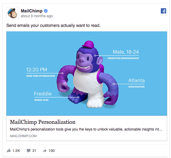 MailChimp's Facebook ad shows exactly how their product works