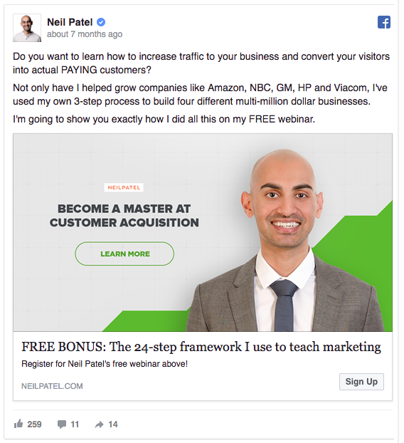 Neil Patel's Facebook ad uses his personal brand