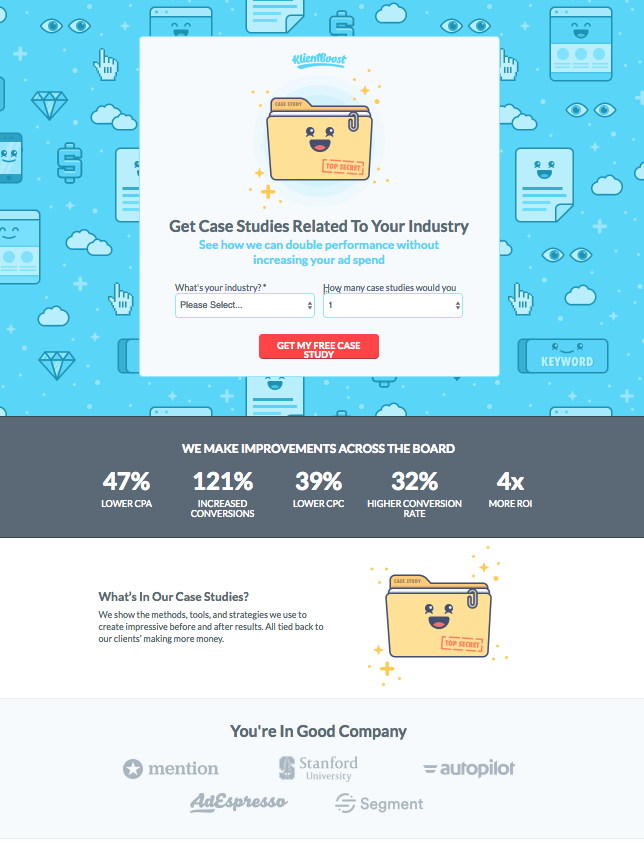KlientBoost Client Social Proof Logos on Landing Page