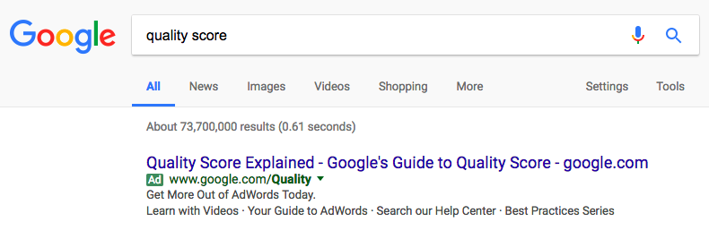 Quality Score Search in Google