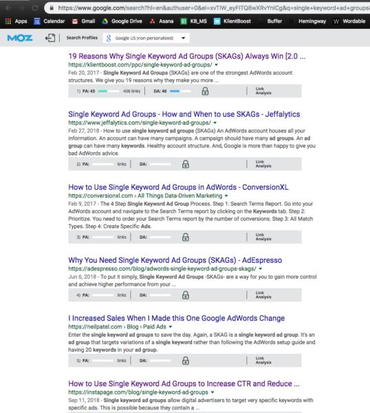 single keyword ad groups SERP