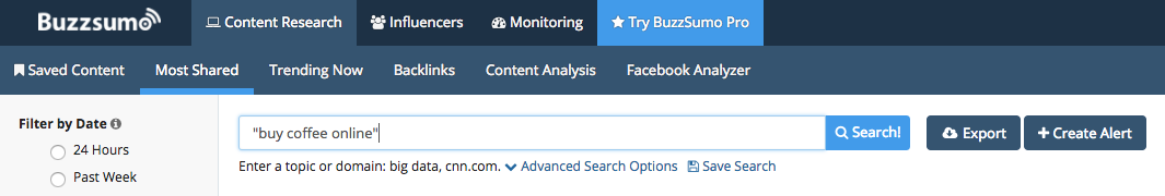 Search in Buzzsumo