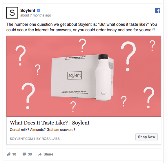 Soylent Facebook Ad - What Does it Taste Like?