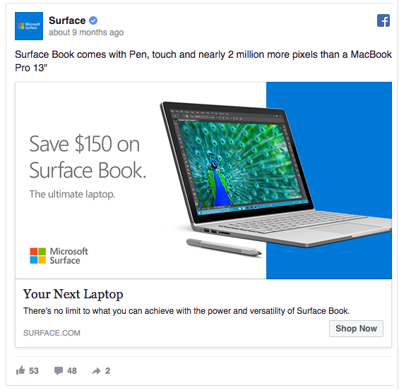 Surface has 2 million more pixels than a MacBook Pro