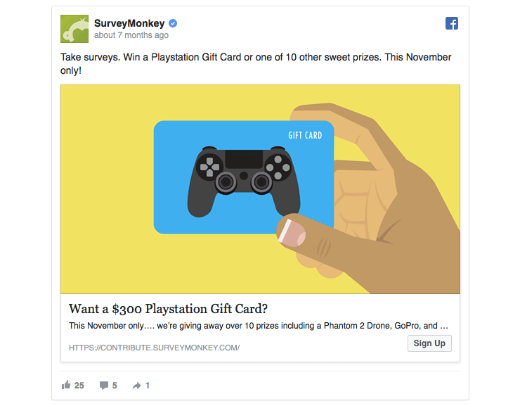 SurveyMonkey's Facebook ad offers a prize