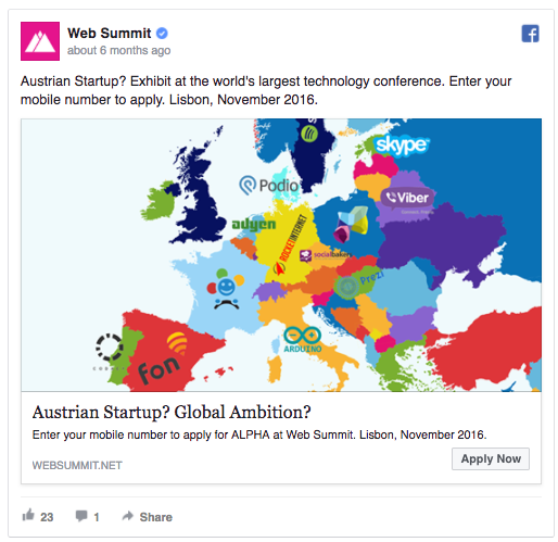 Web Summit's Facebook ad uses location-based personalization