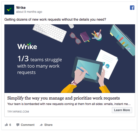 Wrike's Facebook ad shows they understand the reader's problem