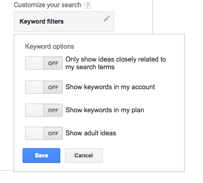 customize search results google keyword planner