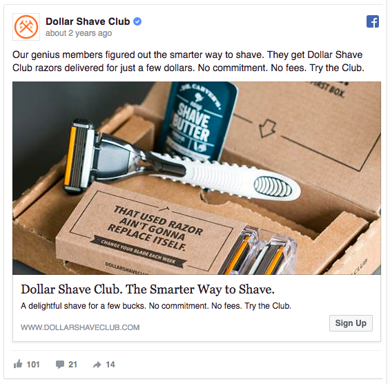 This Dollar Shave Club's Facebook ad makes people want to belong