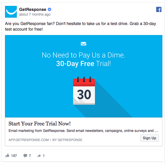 "GetResponse's Facebook ad uses words like ""Now"" and ""Today"""