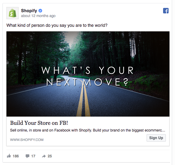 Shopify's Facebook ad offers to change your life