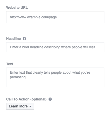 You can customize every text box of a Facebook ad