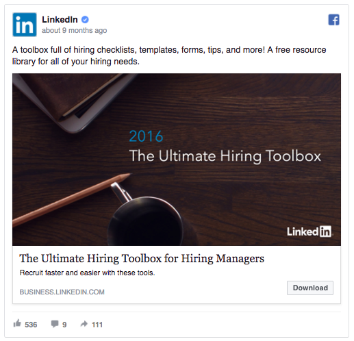 LinkedIn lead ad example