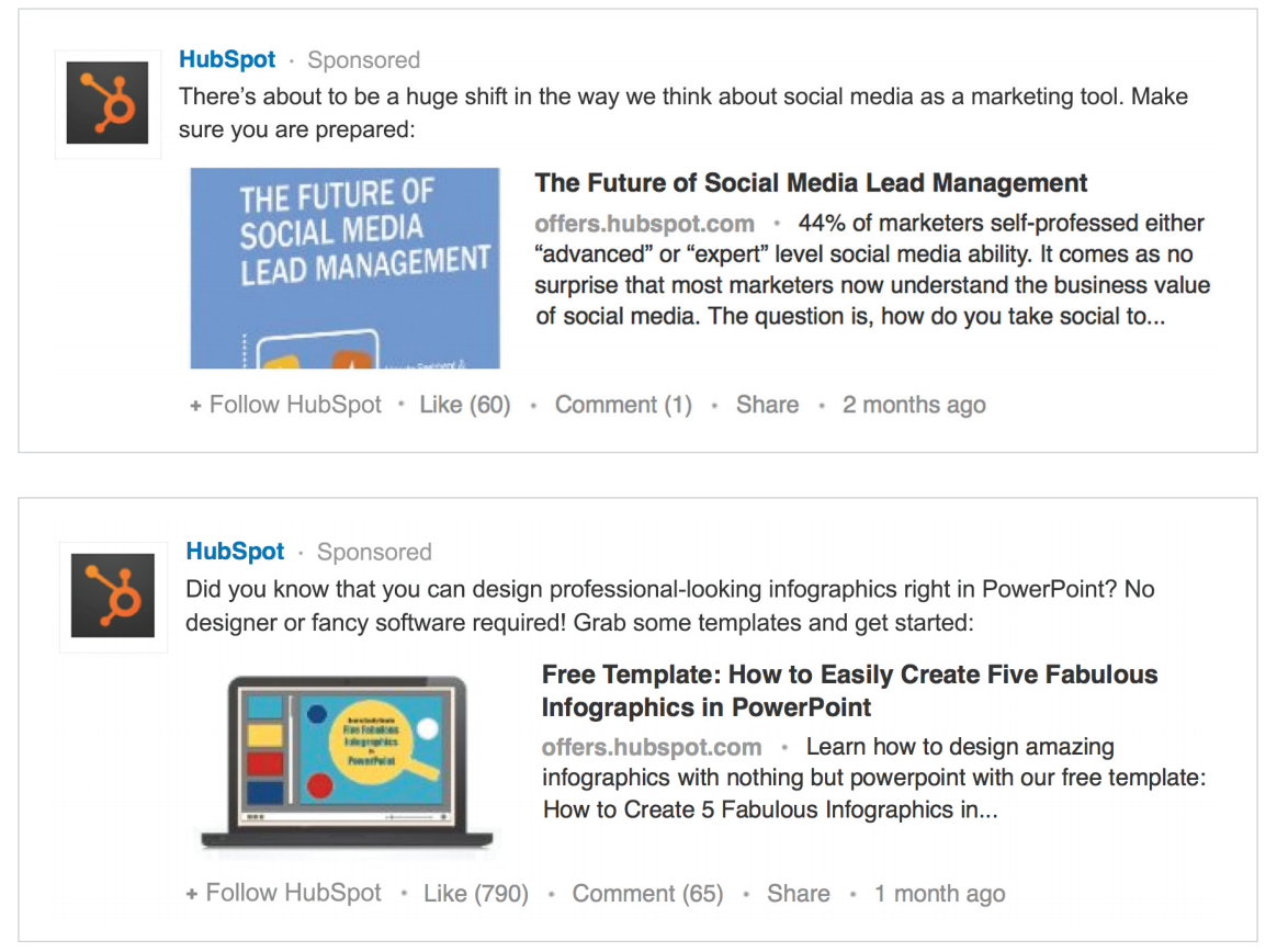 LinkedIn ads Sponsored Updates HubSpot