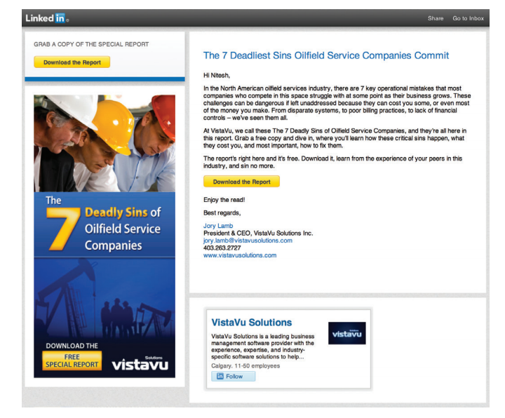 LinkedIn ads Display Advertising Sponsored InMails VistaVu Solutions