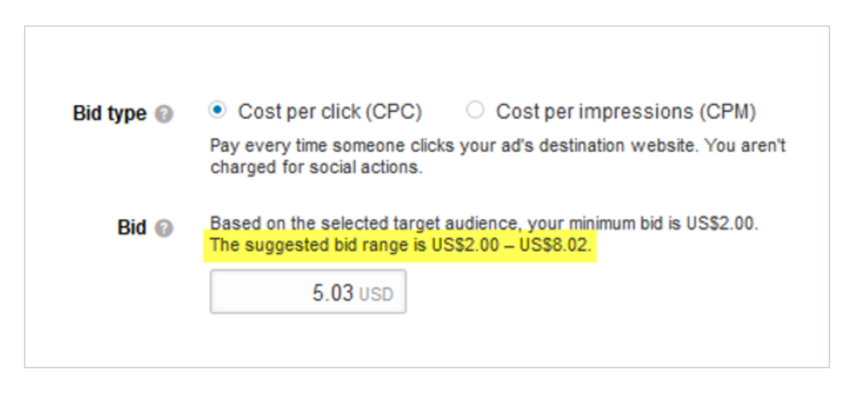 LinkedIn Ads Campaign Manager Suggests Bid Range Based on Competing Bid Estimates