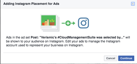 Confirm you want to run an ad on Instagram in Facebook Power  Editor
