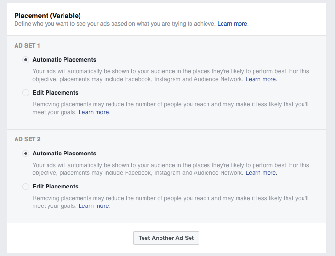 Set up placement A/B test in Facebook Ads Manager
