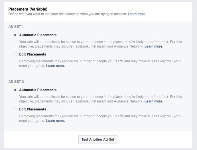 Facebook Ads Manager A/B test