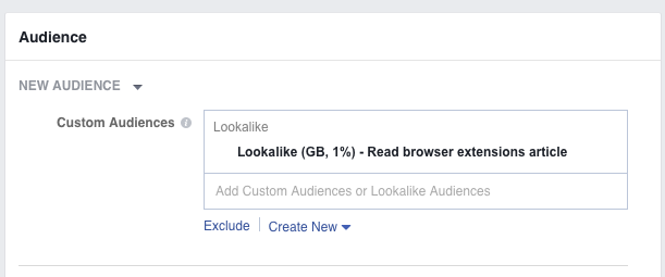 That's for A/B testing Facebook audiences